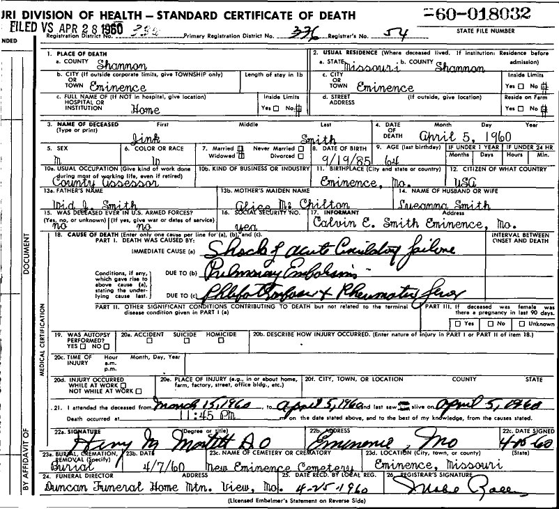 1960 Death Certificates Index